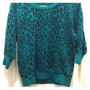 Knit cheetah print crop sweater